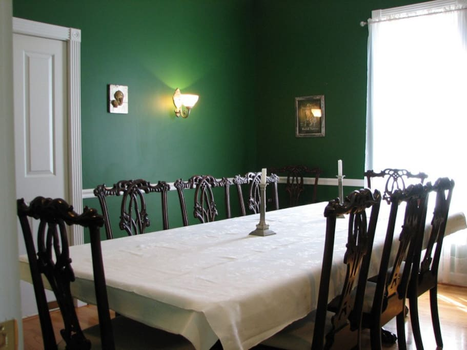 The formal dining room is a wonderful gathering place for families.