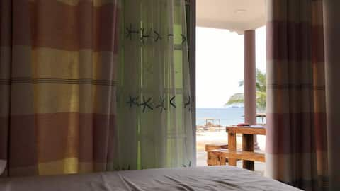 Twin room with sea view and disability access