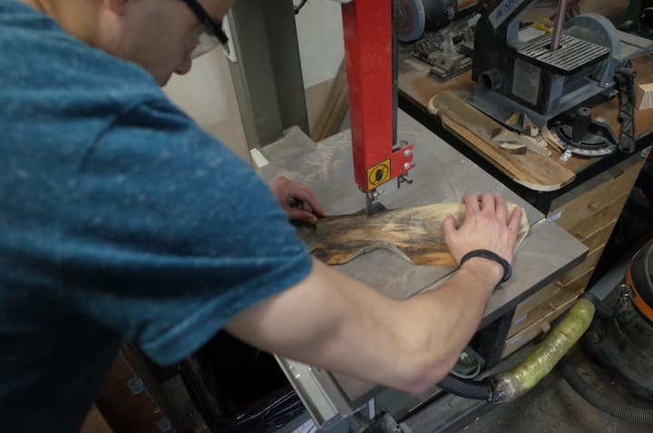 Using bandsaw to cut out.
