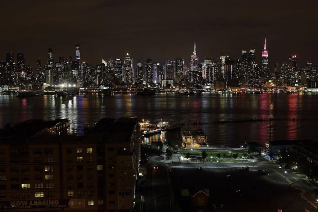 Night time view of the NYC right in front of the apartment.