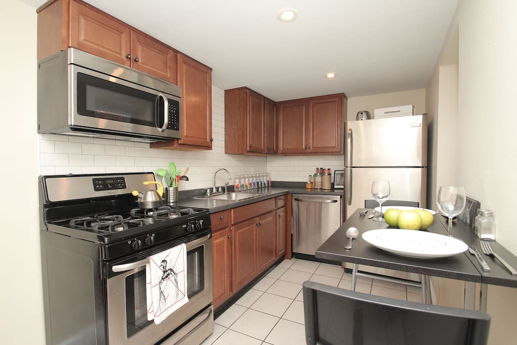 Newly updated kitchen with stainless appliances.  Let's eat in tonight!