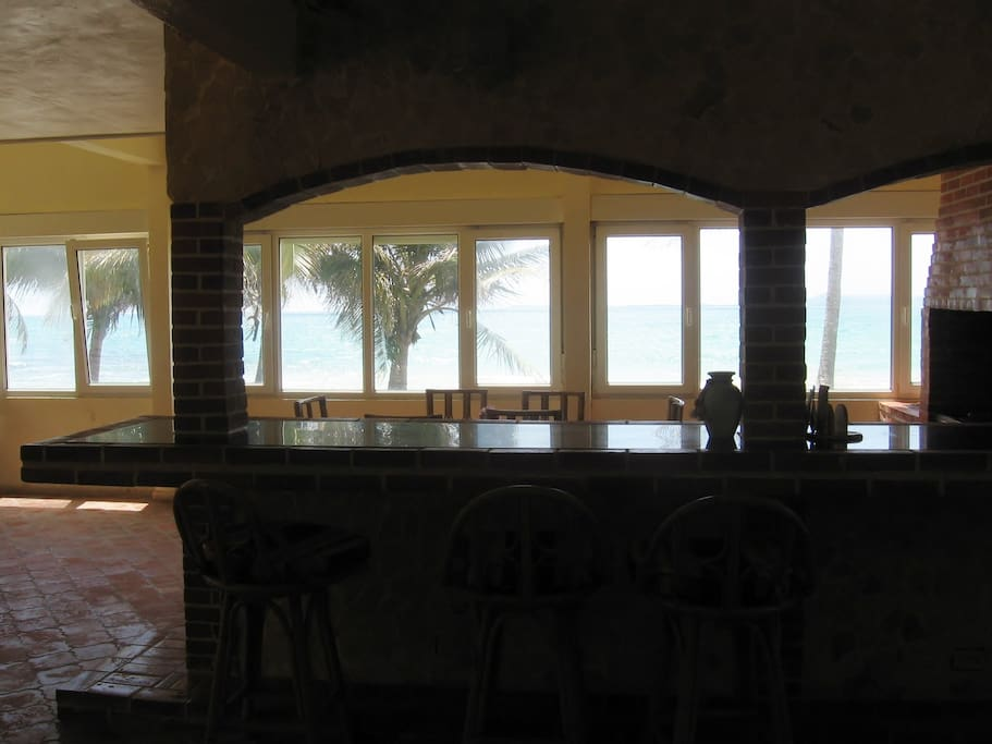 Morning view from the kitchen/ dining area of Luquillo beach.