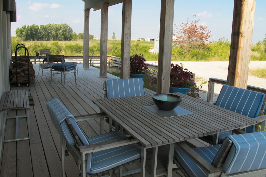 Large front porch with pastoral views