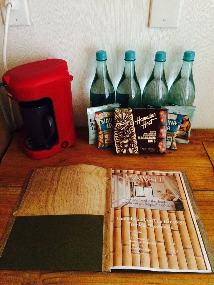 Local snacks, single cup coffee maker & guestbook to welcome you.