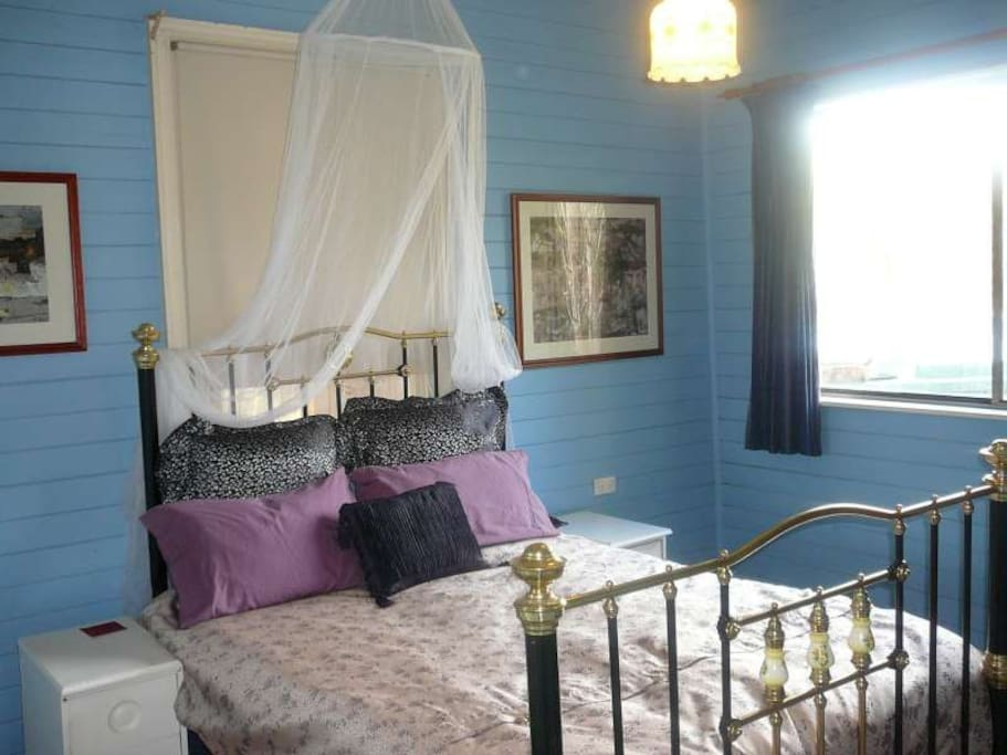 Blue Room with brass bed