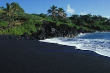 Black sand beaches in nearby Kalapana.