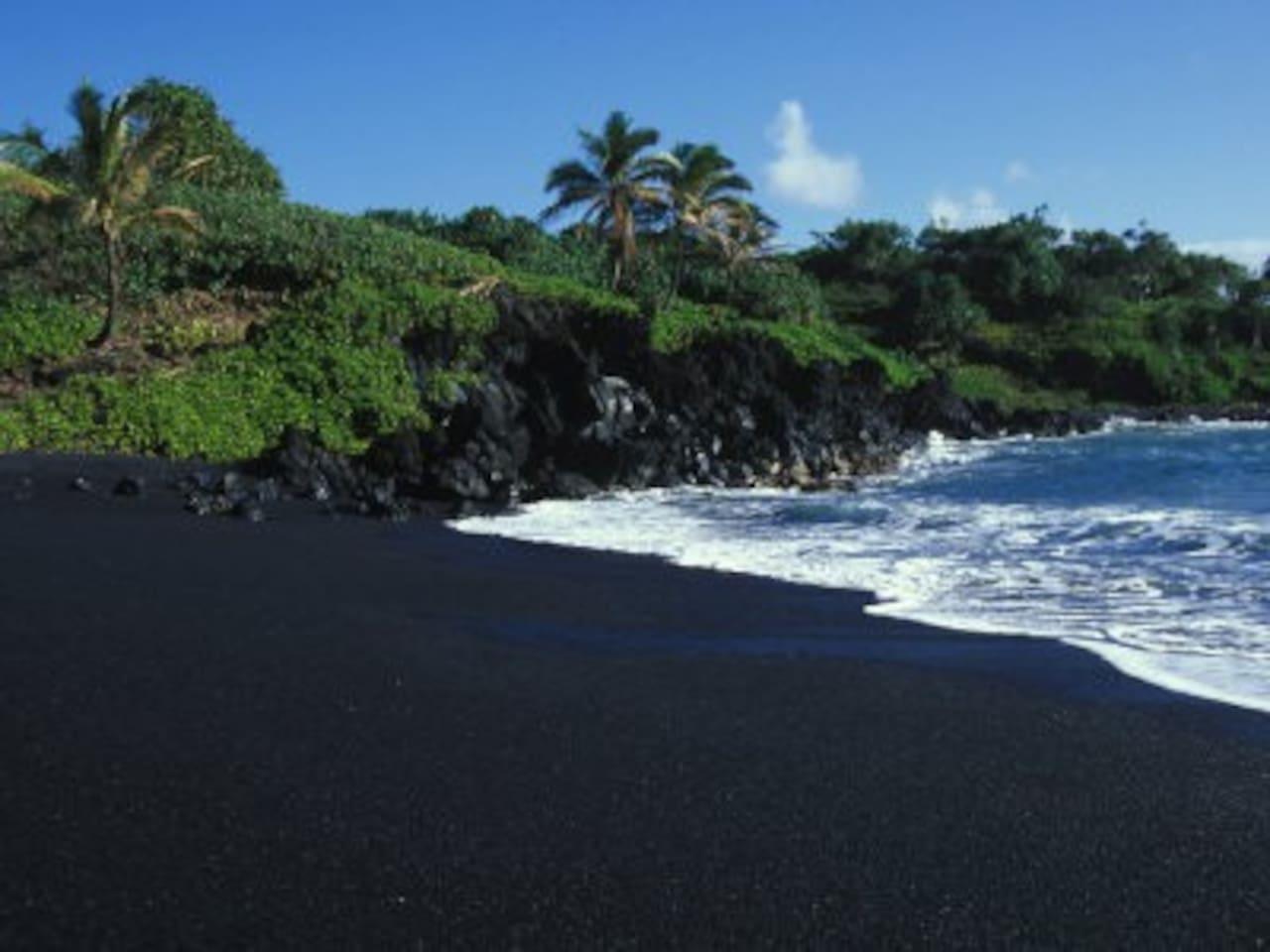 Black sand beaches in nearby Kalapana.