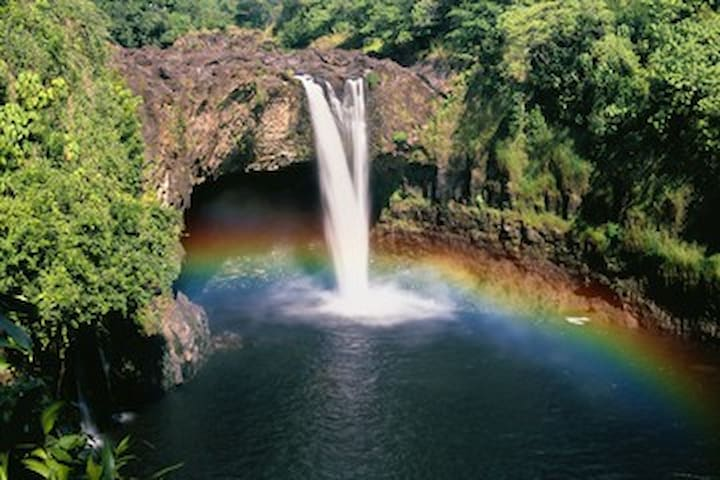 Rainbow falls in Hilo. If you're daring you can walk out almost on top of this waterfall.