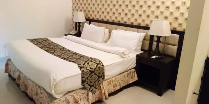 We offer Executive suite and Deluxe rooms