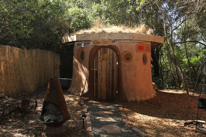 A Grass-Roofed Earthen Hobbit Hut