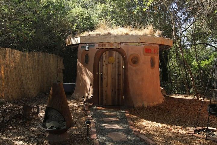 A Grass-Roofed Earthen Hobbit Hut