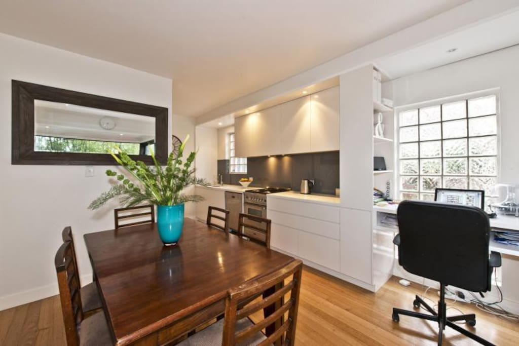 Kitchen and dining area with separate study alcove