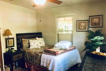 ✨Spacious and comfortable for two. A large sleeping chair, Night Table with Plug in Station, Warmed Electric Blanket and Bedside Water & Mints. Convenient Washer/Dryer, Rollaway Bed, Toddler mattress and blow up Air mattress in the Oversized Closet.