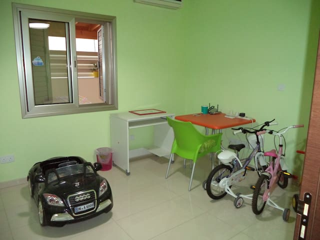 study room. bicycles and car are in storage and not available for guests