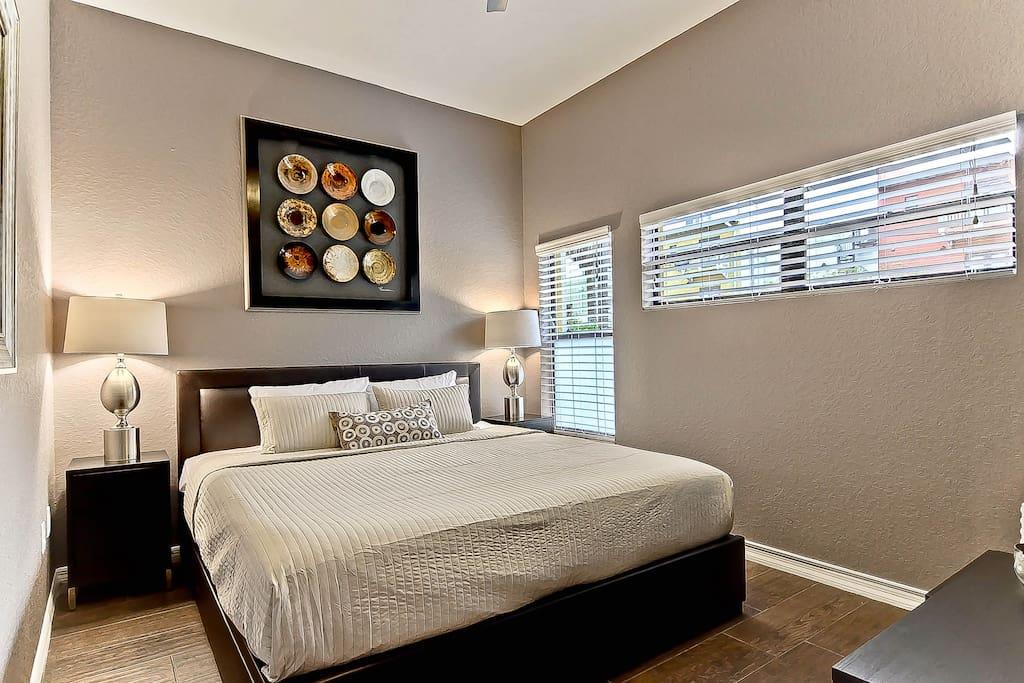 Master Bedroom: luxury KING size mattress and  sheets, bedbug proof encasement