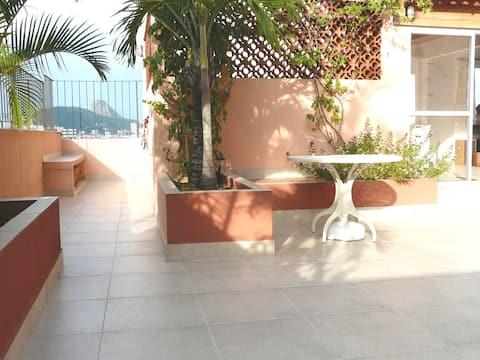 Ático sala-hab, terraza zen