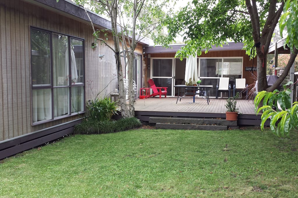 The decking in the backyard is wonderful on nice sunny days