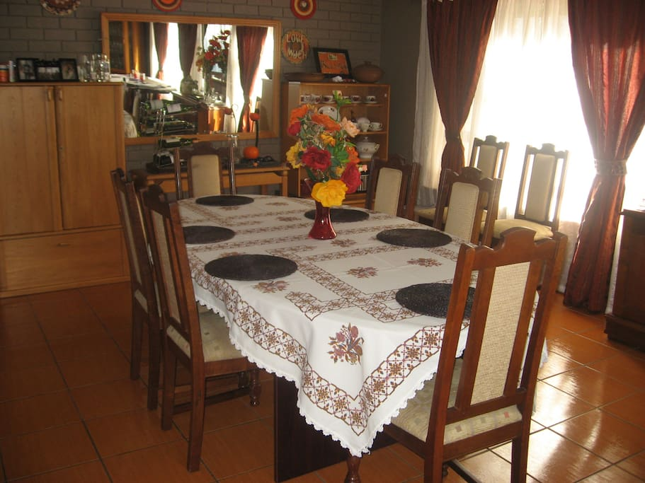 Big rooms all over.  Enjoy a meal at least once with the family and enjoy typical SA food.