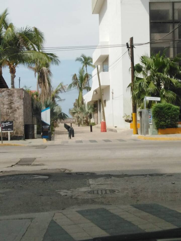 the street goes to a beach entrance