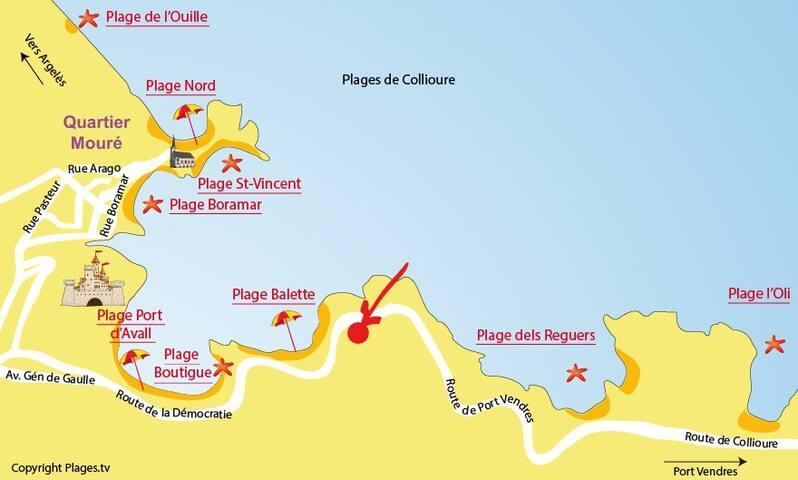 """28 route de Port-Vendres, au niveau du point rouge """"approximativement""""."""