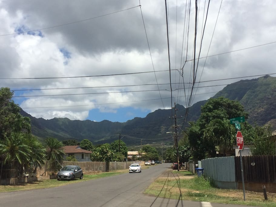 View of street from Farrington Hwy.  rental is on the corner of Jade St. and Hana St.