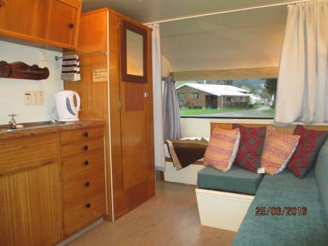 Kiwi Glamping staying in the Caravan