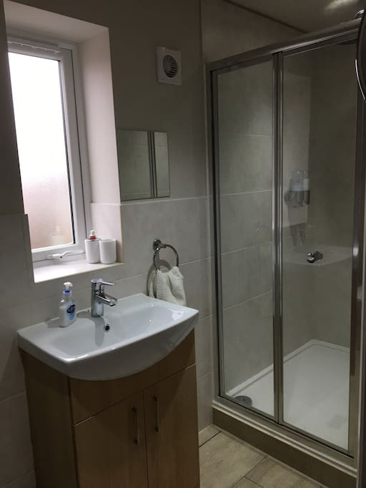 Ensuite with large walk in shower, soap and shower gel dispenser within.