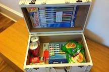 Emergency Kit - complimentary items in room. Spare toothbrush, sewing kits, snacks & handkerchiefs