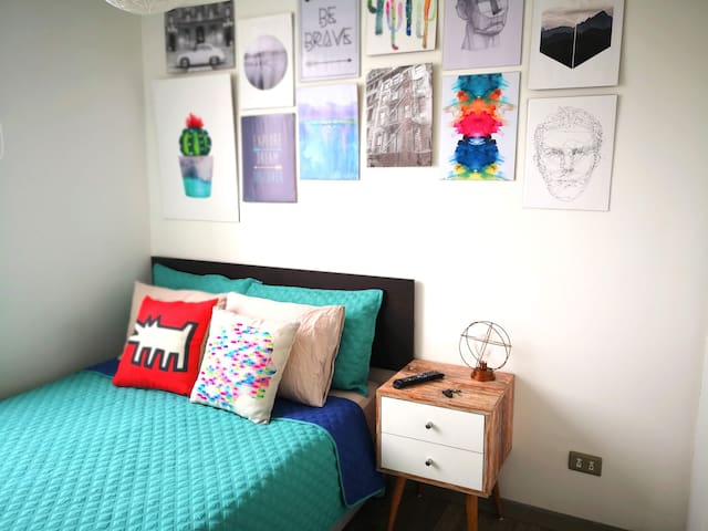 This is your nice and comfy room with a double bed!