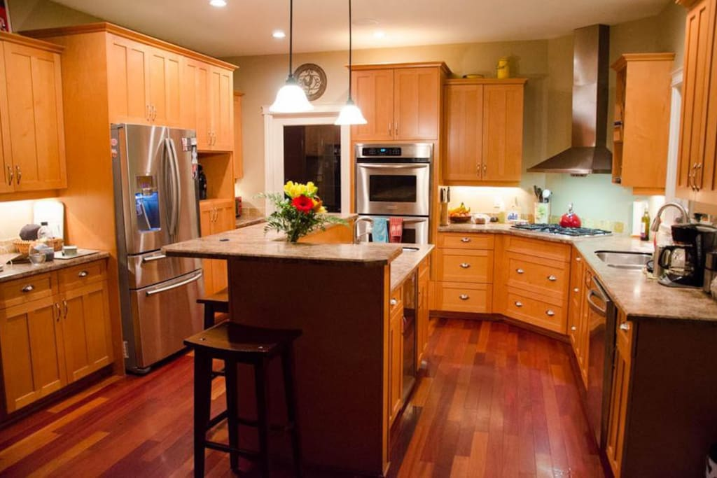 Kitchen shared with residents.