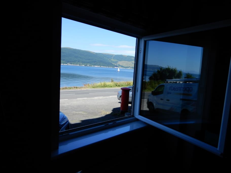 Living room window with stunning views over Loch Long