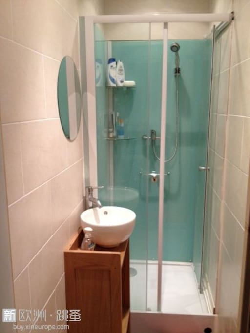 shower room with sink