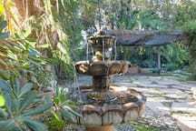 Fountain and patio for your breakfast!