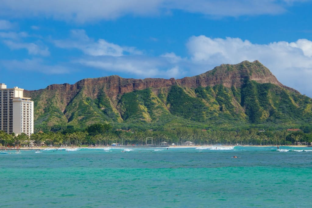This is the coastline a mile away, Waikiki to the left