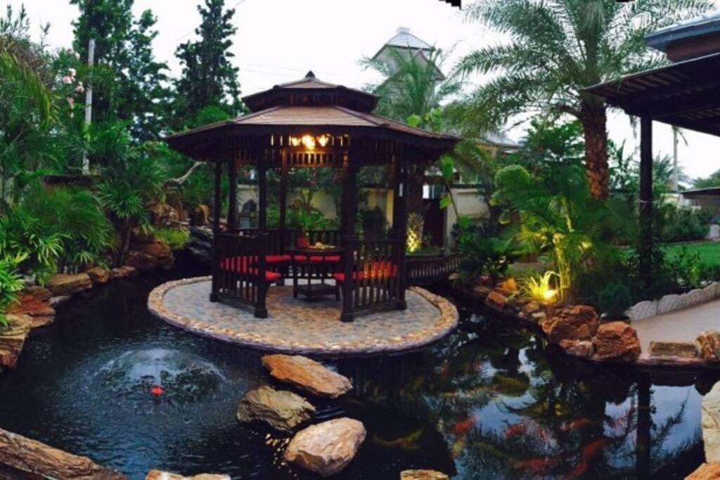 koi fish pond pavilion
