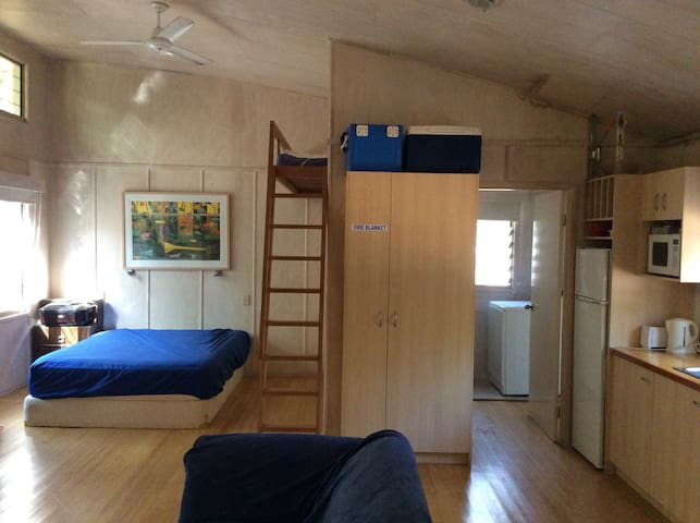 Main bed with loft up ladder ( double)