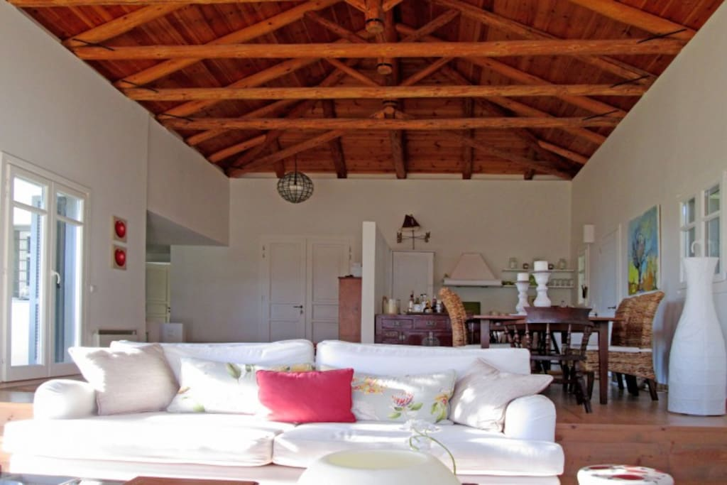 Open plan with high traditional wooden ceiling