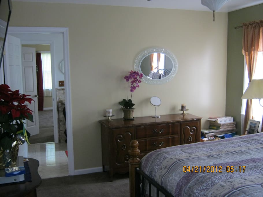 Master bedroom with adjoining bathroom