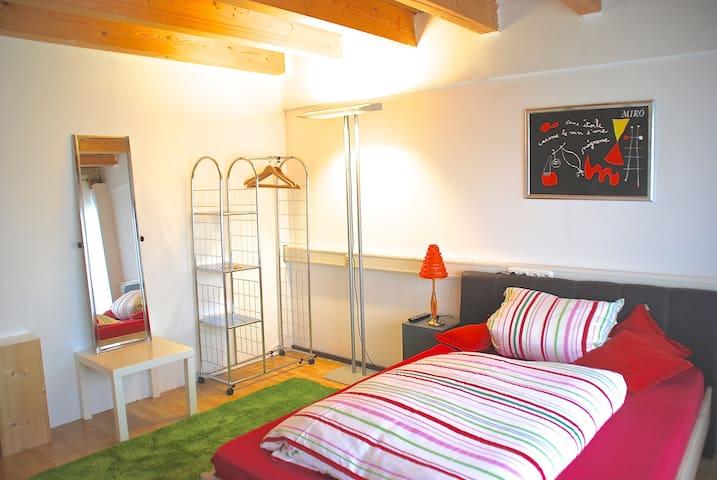 Einfaches Zimmer mit Dusche/WC und Küche über Flur - Friedrichshafen - Apartament