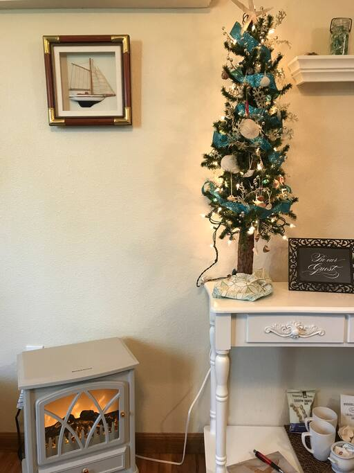 The Beach Room is ready for Christmas. 5 star amenities