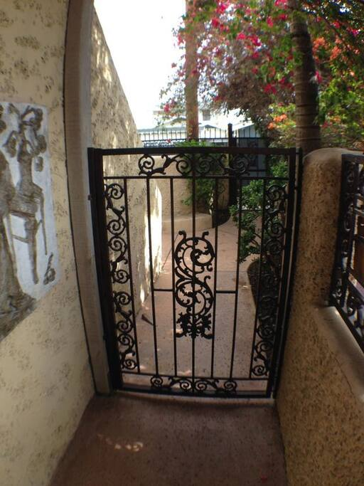 The apartment is located on our property but has a private courtyard