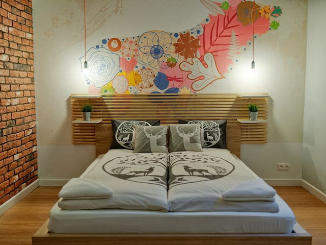 Double bed in second bedroom.