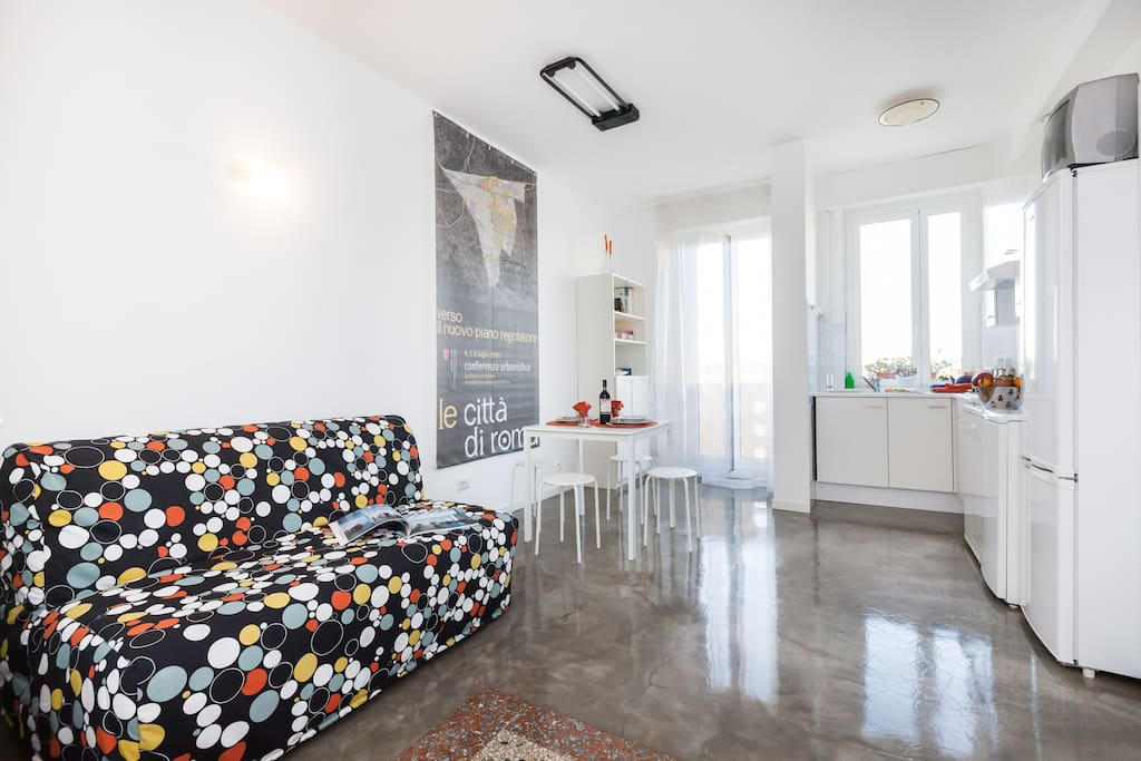 trovi un soggiorno luminoso con un angolo cottura e un divano che puoi aprire (diventa un letto di 140cm anche per due persone)