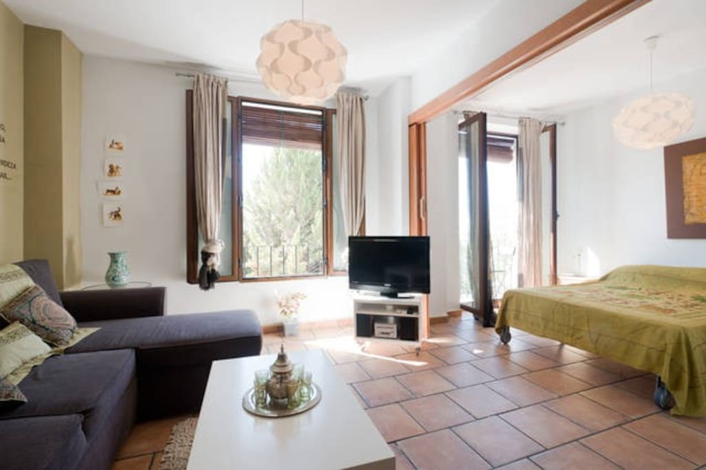 Spacious Living-room with view to La Alhambra, Sierra Nevada and Mirador San Nicolas