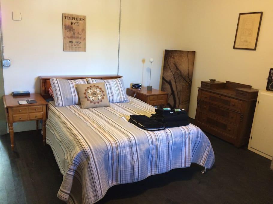 Queen bed and dresser storage