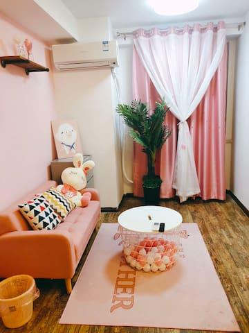 南稍门地铁口粉色少女系一居室,地铁直达钟楼,小寨北客站