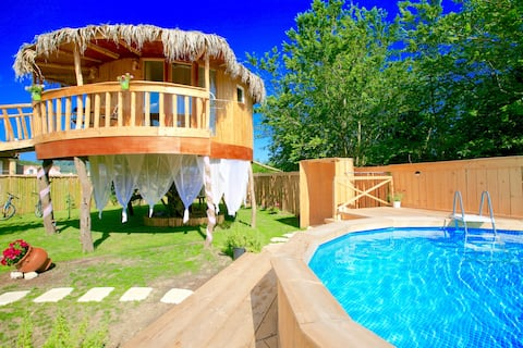 "EcoFriendly ""Elmar Tree House"" med privat pool"