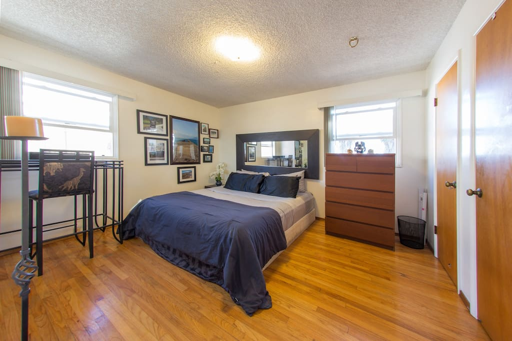 Main bedroom with California King sized bed.