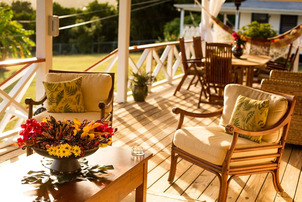 Your verandah's living space includes a sitting area with coffee table, and a six seater dining area.