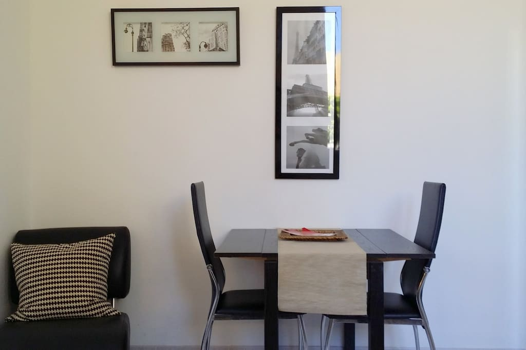 Dining table in kitchen.